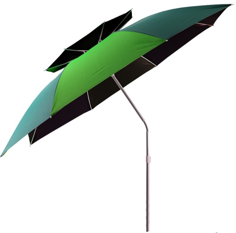 2.0m-2.4m Large Size Fishing Umbrella Foldable Double Layer Outdoor Rain-proof Beach Tent Rest Angling Anti-UV Sunshade Awning