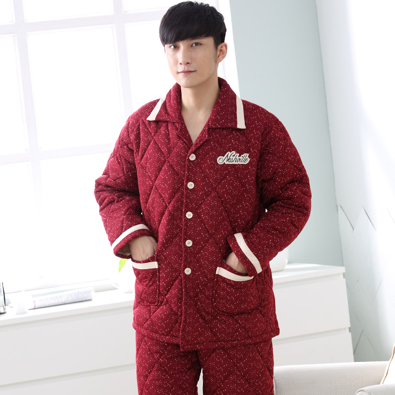 3ce89a2fe2 Three layer thickening winter pajamas men quilted jacket cotton quilted  pyjamas mens thick male tracksuit plus size suit XXXL-in Men s Pajama Sets  from ...