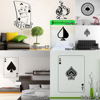 Poker Pro Cards Spade Club Heart Diamond Wall Sticker Suit Playing Game Room Night Basement Decorative