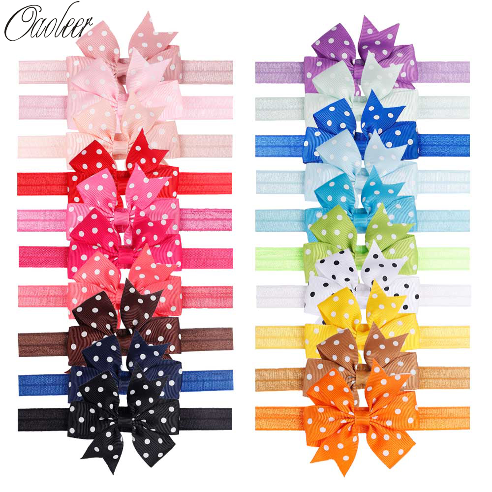 3 Inch 20pcs/Lot Dot Pinwheel Headband for Girls Grosgrain Ribbon Bows Soft Elastics   Headwear   Handmade Children Hair Accessories
