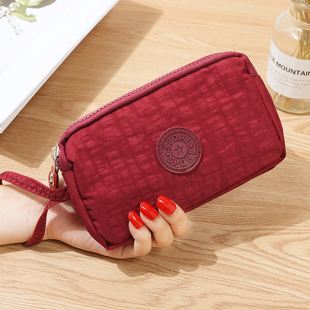 Ladies Mobile Phone Bag Three- Zipper Short Wallet Coin Purse Young Fashion Style