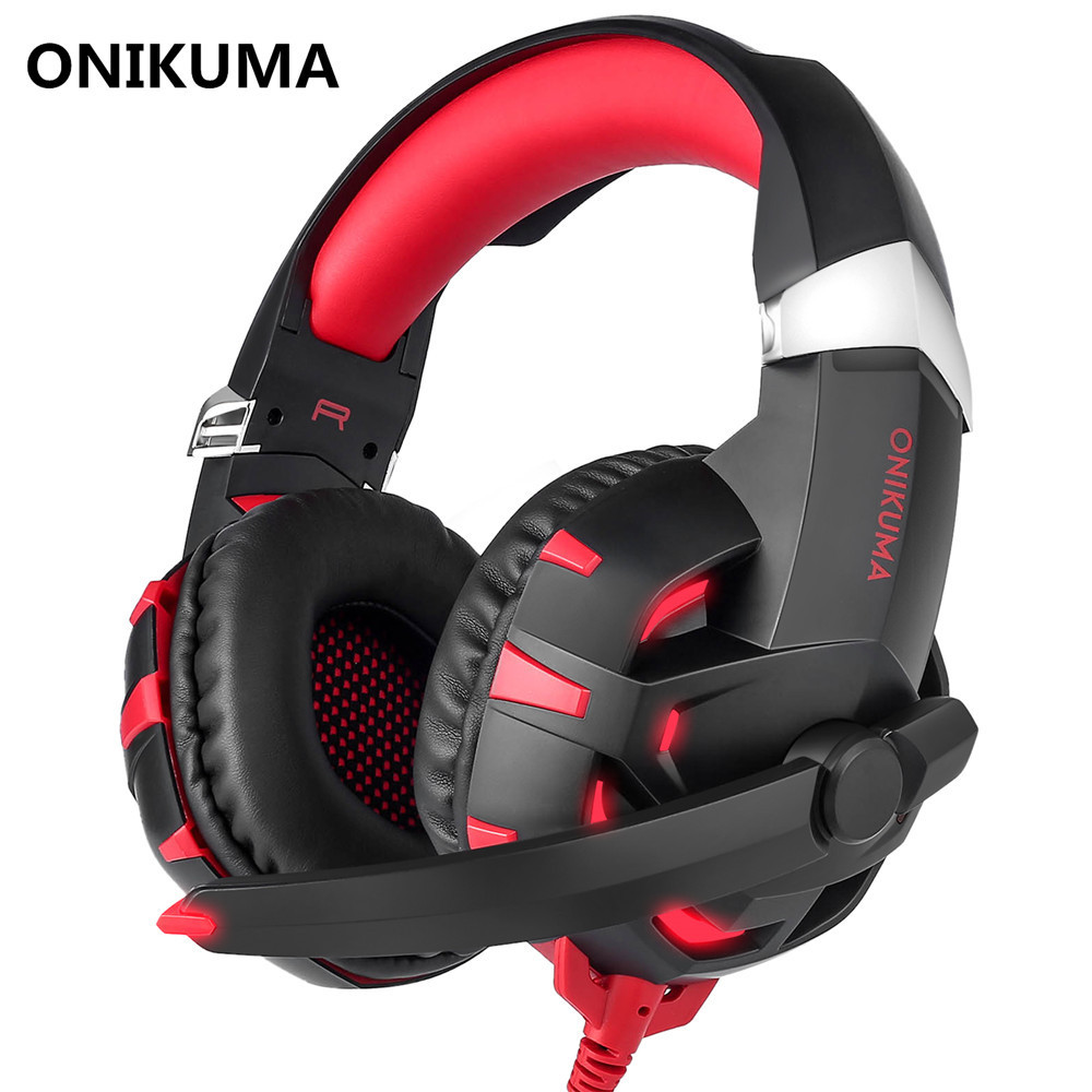 ONIKUMA K2 USB Headset 7.1 Channel Sound Stereo Gaming Headphones Deep Bass Game Headsets with Microphone LED for Computer PC sound intone c1 stereo deep bass wired headset music earphone computer headphones and volume control with microphone for laptop