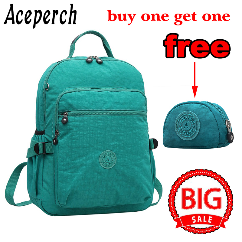 ACEPERCH New College Backpack for Teenage Nylon Solid Laptop Backpack Women Canvas Girls Backpack School Student Book Bag kiple women casual backpack for teenage girls children school bags bagpack lady laptop backpack student book bag schoolbags pink blue