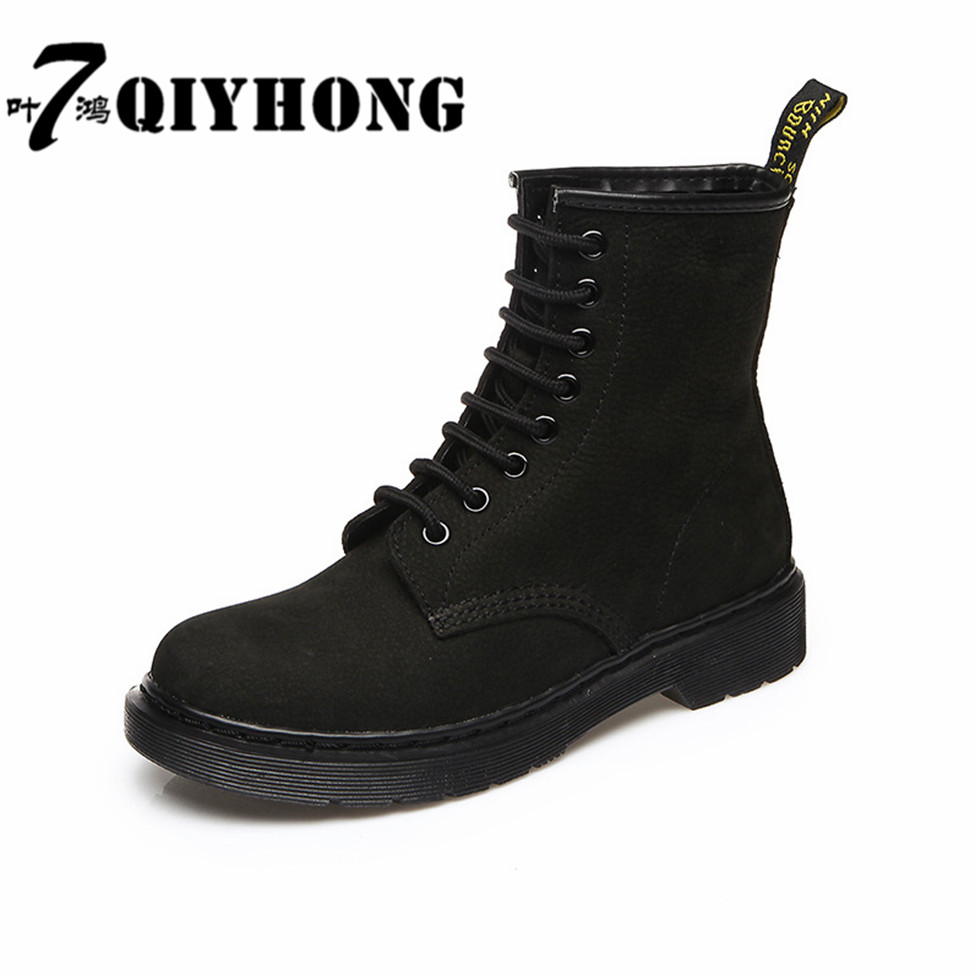 Women Boots Autumn Winter Boots  Ankle Boot  Real Leather Lace Up Punk Round Toe Ankle Motorcycle Boots Shoes Zapatos Mujer front lace up casual ankle boots autumn vintage brown new booties flat genuine leather suede shoes round toe fall female fashion