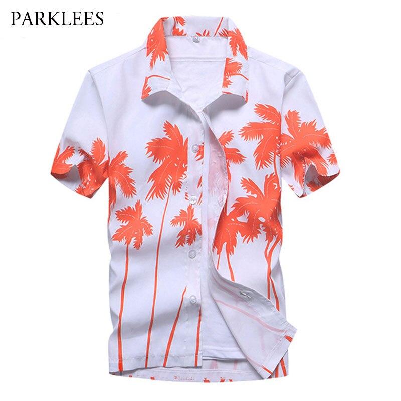 Summer Fashion Short Sleeve Men Hawaiin Shirt 2018 Band New Slim Fit Beach Shirts Casual Holiday Party Clothing Camisa Hawaiana