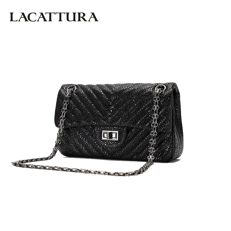 LACATTURA Fashion Women Shoulder Bag Luxury Chain Womens Messenger Bags High Quality Split Leather Crossbody Bags for Ladies