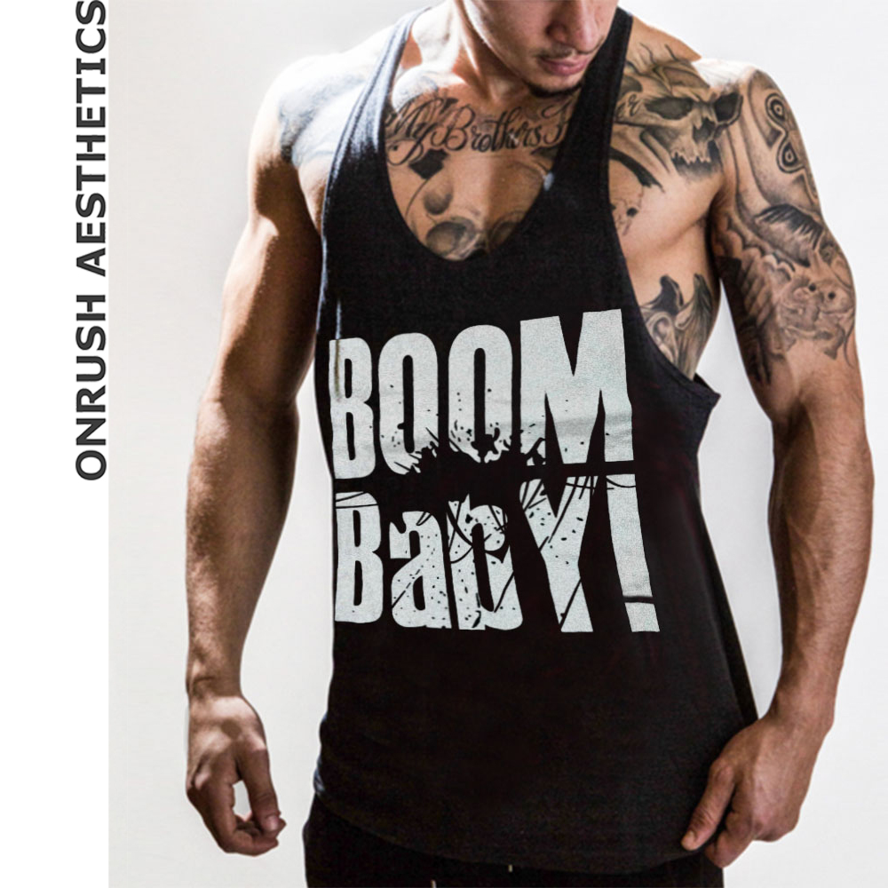 OA Hot Sale 'Boom Baby' Fitness Pure Cotton Sleeveless Vests Men's Casual Bodybuilding Workout Pullover Breathable   Tank     Tops