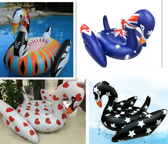 Giant Pool Floats Inflatable Colorful Swan Swimming Float Inflatable Floating Air Mattress Fun Water Toys