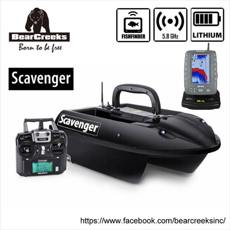 BearCreeks Scavenger V1 carpe appât de pêche bateau avec BC151 couleur Fishfinder 500 m RC télécommande double crochets