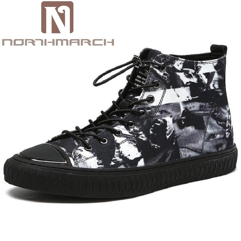 NORTHMARCH Autumn Punk Canvas Boots Men Fashion Breathable Lace-up Martin Boots Black Vintage High Top Shoes sapato masculino 2017 autumn fashion boots sequins women shoes lady pu leather white boots bling brand martin boots breathable black lace up pink