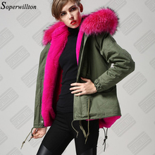 2016 New Lady Parkas Female Jacket Real Large Raccoon Fur Winter Coat Women Jacket Coats Collar Thicken Warm Padded Cotton D003