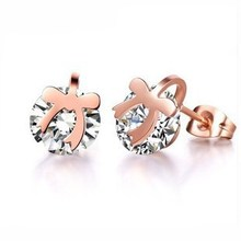 Bowknot Crystal Earring Fashion Fine Woman Jewelry Titanium Steel Rose Gold Color Valentine Gift Free Shipping