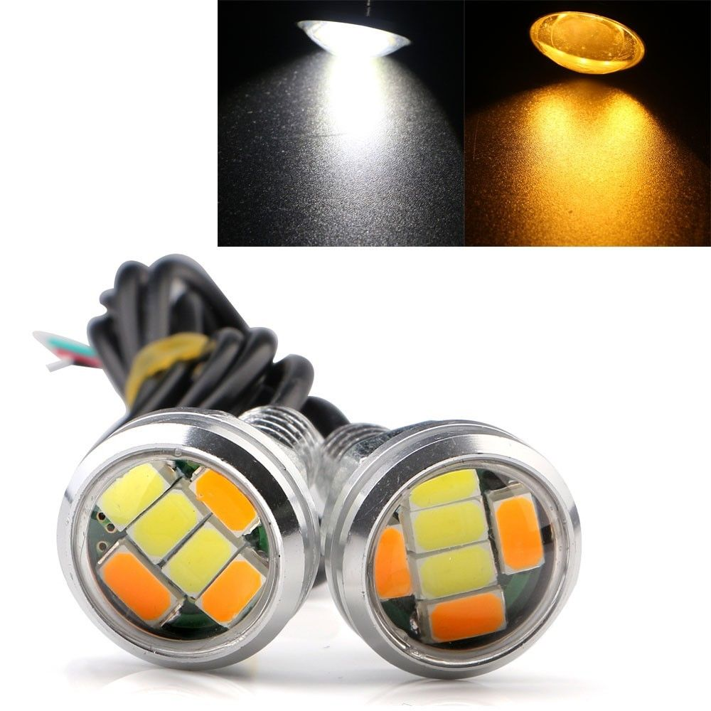 CYAN SOIL BAY 1Pair 12V DC 23MM 5730 6 LED Eagle Eye Daytime Running Dual Color DRL Light White Amber Yellow new arrival a pair 10w pure white 5630 3 smd led eagle eye lamp car back up daytime running fog light bulb 120lumen 18mm dc12v
