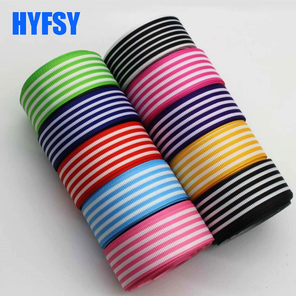 Hyfsy 10027 22 25 мм полосатая лента DIY ручной работы волосы материал обечайки подарочная упаковка Grosgrain ленты клейкие ленты