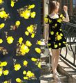 tissu tulle fabric for dress stof stoffe lace tissus material printed Yellow Rose flower black fabrics textile silk fabric meter