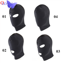 Adult Product Fetish Erotic Toys For Woman Man Black Elastic Breathable  Flirting Open Mouth Eye Mask Slave Costumes