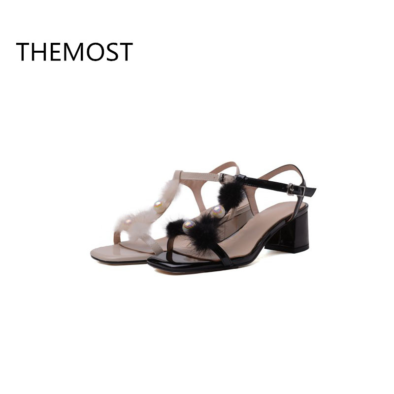 THEMOST Genuine Leather buckle strap shoes summer sandals women high heels 2 colors can be selected 2018 latest style themost sexy fish mouth hollowed out roman sandals fashion foreign trade european and american style four colors can be selected