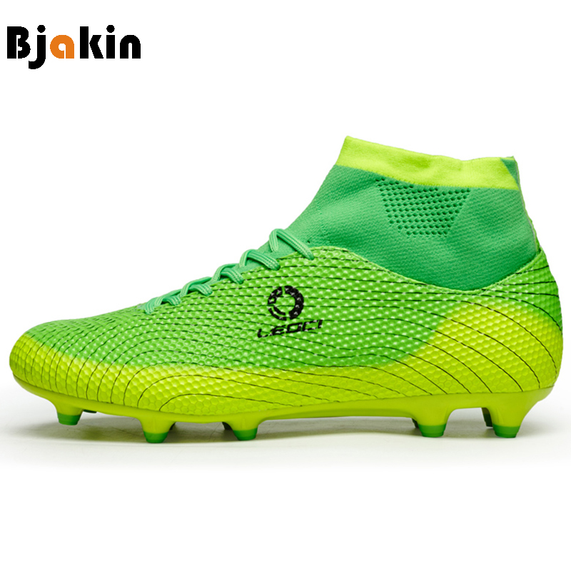 Bjakin High Ankle Football Boots for Boy Kid FG Long Spikes Soccer Shoes Outdoor Socks Football Shoes Centipede chuteira futebol
