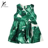 Little Girls Banana Leaf Pattern Jacquard Dress New Arrilvas 2017 Europe Spring Autumn Baby Girl Fashion