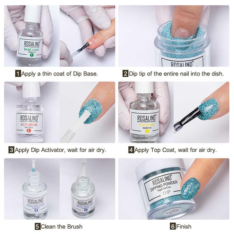 ROSALIND proszek do zanurzania lakier do paznokci holograficzny Gradient połysku błyszczący chromowany Pigment zestaw do zanurzania w proszku płatki do paznokci cekiny