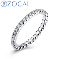 ZOCAI 진짜 18 천개 화이트 골드 0.228 ct 인증 정품 다이아몬드 웨딩 여성 반지 IJ/SI 정품 다이아몬드 고급 보석 W05532