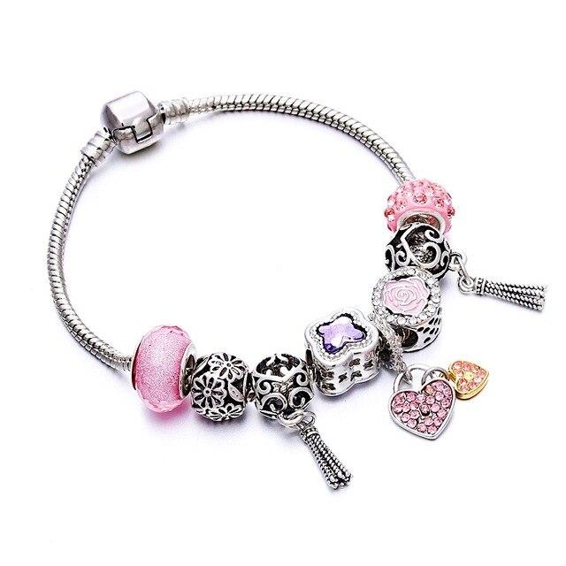 Multicolor Jewelry Charm Women Bracelet Pink Crystal Love Heart Bead Silver Ladies Rainbow Chain Bangle Wedding Gift DIY Pulsera