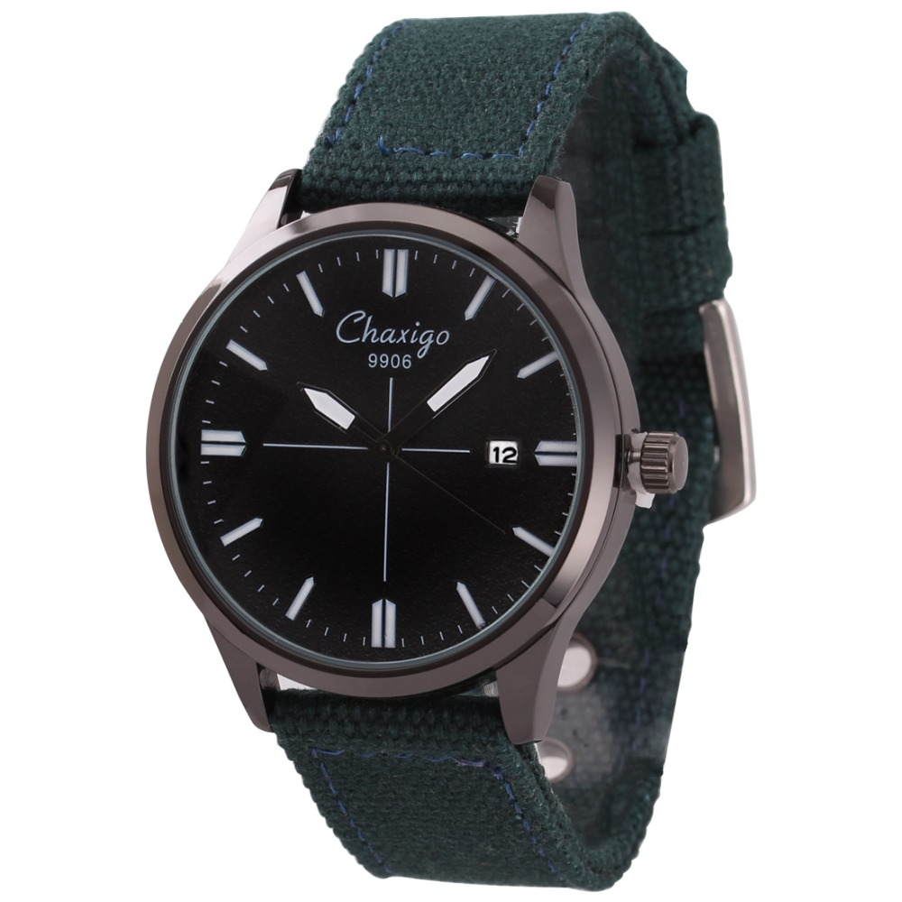 Chaxigo Brand Factory Quartz relojes mujer 2016 Waterproof Sports Style Canvas Strap Discount Watches For Men