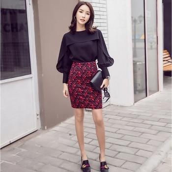 Womens Long Pencil Skirt Knee Length Fashion Summer OL Sexy Elegant Plaid Plus Size Formal Work Office Printed Skirts Female 8