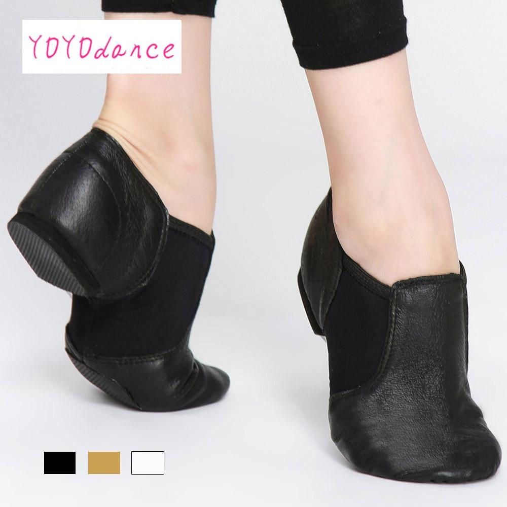 2019 nuevo Jazz antideslizante en zapatillas de baile zapatos de baile para mujeres negro cuero zapatos de baile para niños y adultos de Jazz zapatos de baile