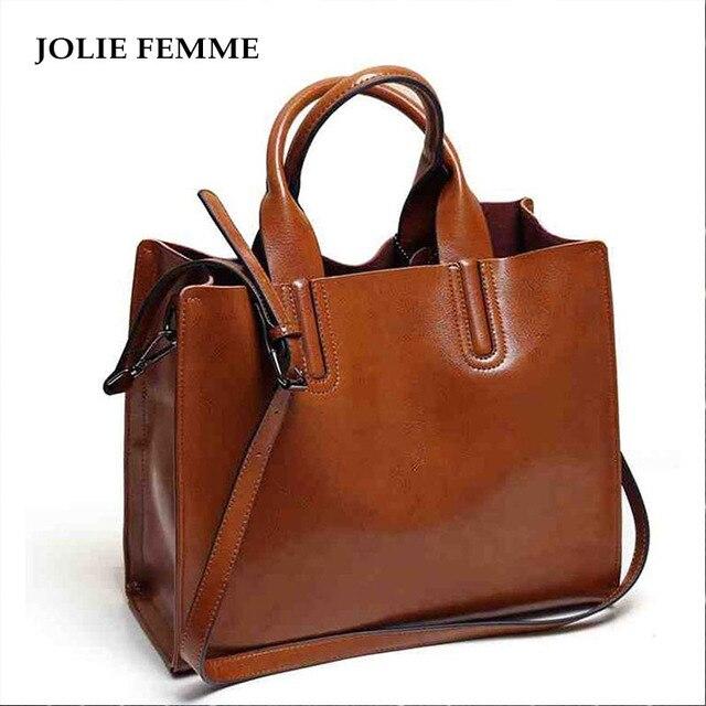 a632b1e46000 JOLIE FEMME Women Handbags Women Oil Wax Bags Famous Brand Big Casual Women  Shoulder Tote Bags