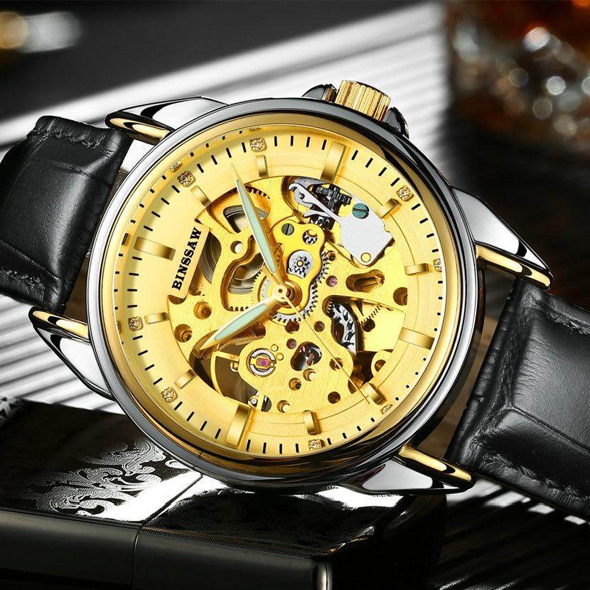 Ерлер BINSSAW Люкс Жаңа қара қара watch - Ерлердің сағаттары - фото 3