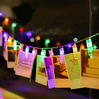 Oobest LED String Lights Novelty Fairy Lamp Starry Battery Card Photo Clip Festival Christmas New Year