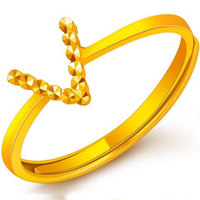 New Arrival Solid 24K Yellow Gold Ring Women V Design Ring