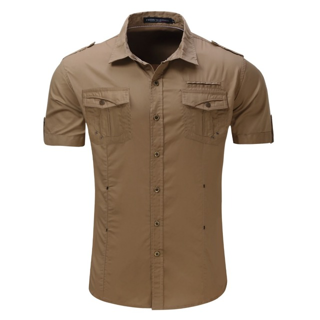 2017 New Arrive Mens Cargo Shirt  Men Casual Shirt Solid Short Sleeve Shirts Work Shirt with Wash Standard US Size 100% Cotton 2
