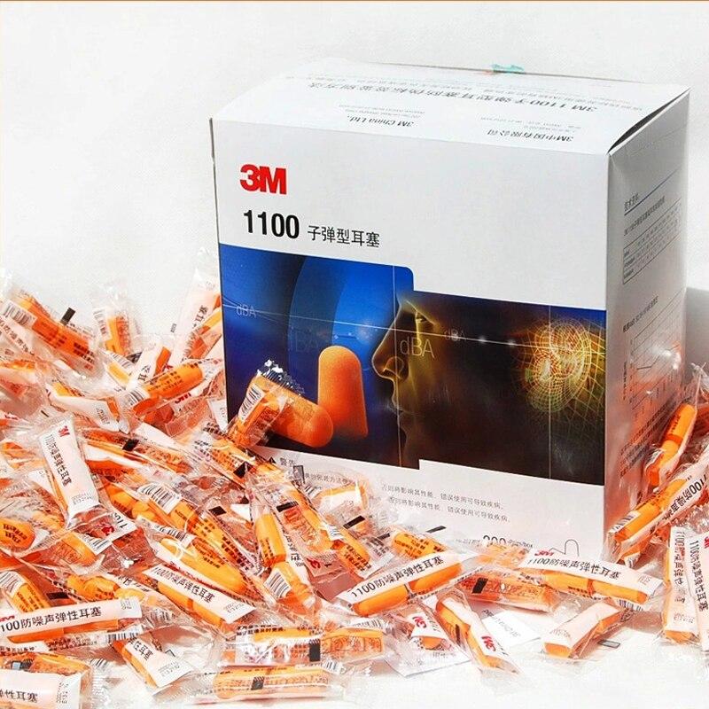200 par/pudło 3M 1100 autentyczne powolne Reboun pianki miękkie zatyczki do uszu redukcja szumów spanie pływanie podróży pracy zatyczka do uszu ochronne|Ochraniacze słuchu|   -