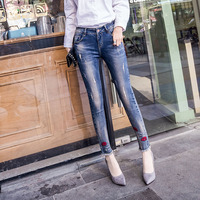Plus Size 26 31 New Women Denim Pants Female Wearing Red Letter Embroidery Jeans Slim Pencil