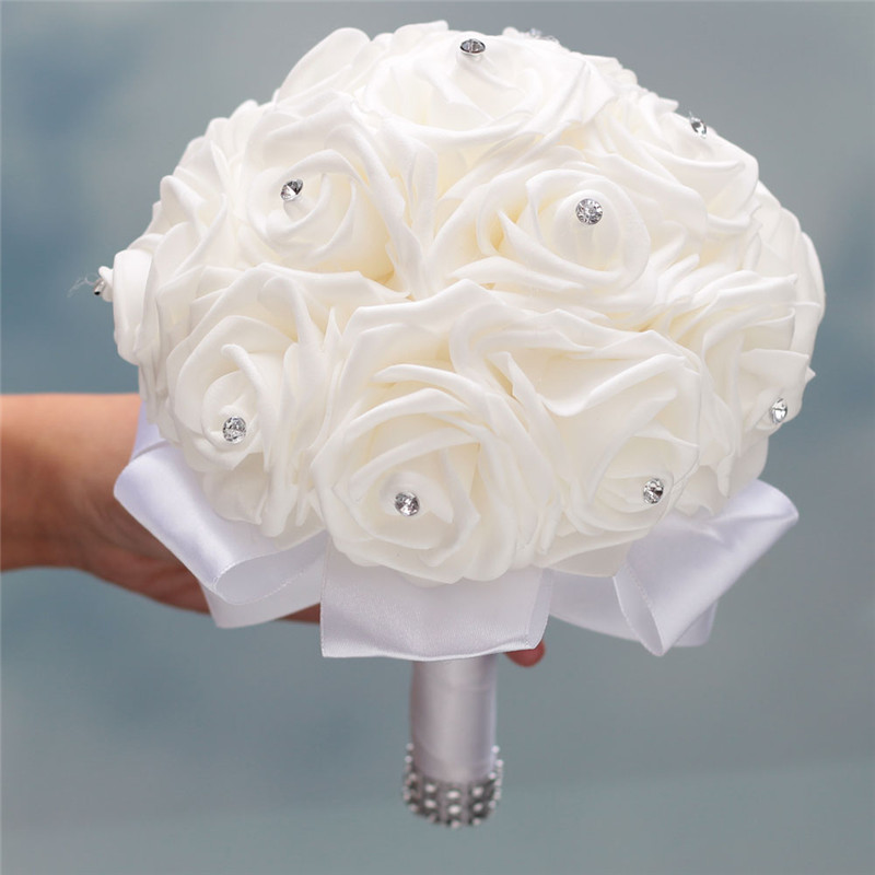 Stock Pure White PE Flower Foam Wedding Bouquet De Mariage Wedding Bouquets AND Ivory Cream PE Rose Diamond Ribbon Bouquet W2018