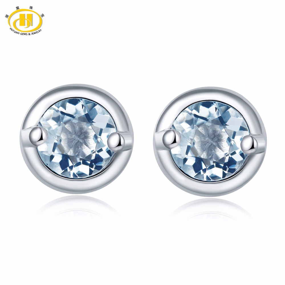 Hutang Fashion Natural Aquamarine Stud Earrings Solid 925 Sterling Silver Gemstone Fine Jewelry Simple Style Womens Girl Gift