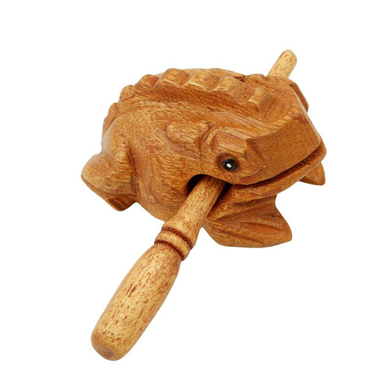 Wooden Frog Musical Instrument, Fortune Frog Decoration Carving Handicraft Percussion Instrument