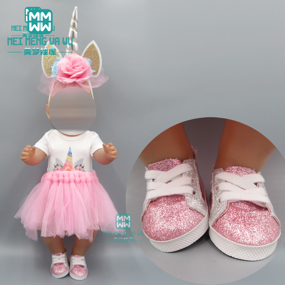 Baby Clothes For Doll Fits 43cm New Born Doll And American Doll Accessories Pink Unicorn Princess Dress