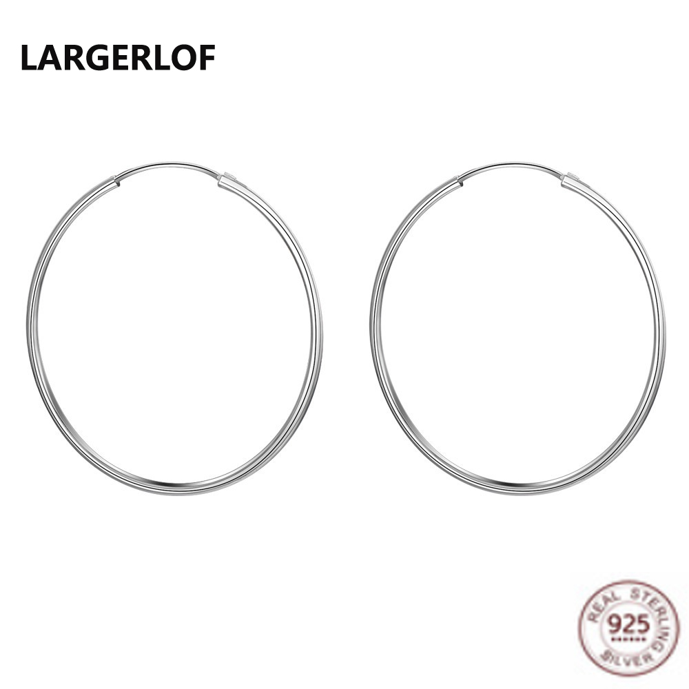 LARGERLOF Real 925 Silver Earrings Fine Jewelry Fashion jewelry Hoop Earrings For Women EH0226