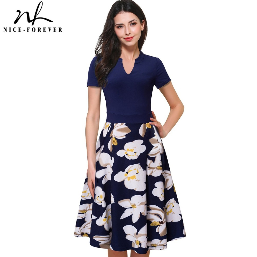 Buy Cheap Nice-forever Vintage Stylish Print Floral Patchwork V-Neck Women Casual Office Dress Short Sleeve A-Line Swing Summer Dress A036