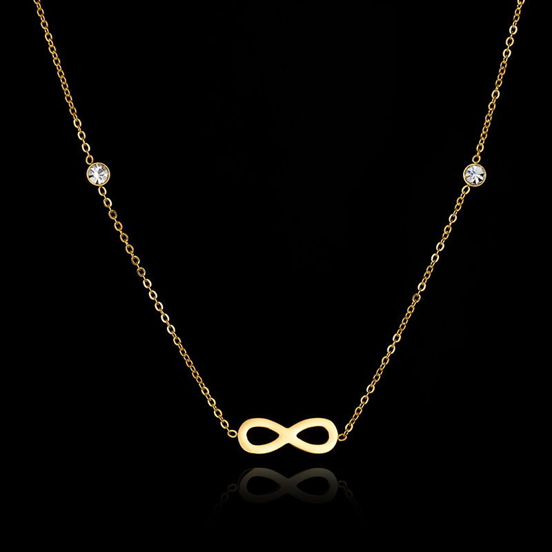 Fashion Rose Gold Women Jewelry Stainless Steel Clavicle Chain Necklace Infinity Love Pendant Necklace For Women Couple