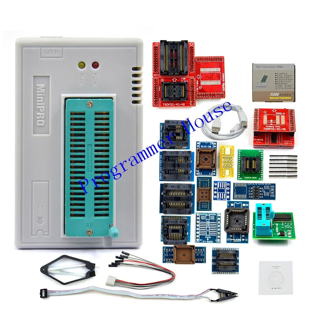 2019 XGecu V8 51 TL866II Plus Universal Minipro Programmer 24 Adapters Test Clip TL866 PIC Bios