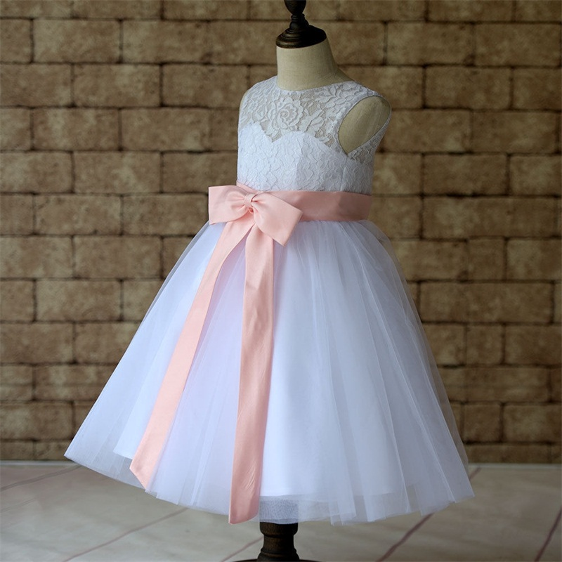 2017 New Flower Girl Dresses with Sashes Keyhole Back Little Girls Kid/Child Dress Party Pageant Communion Dress for Wedding