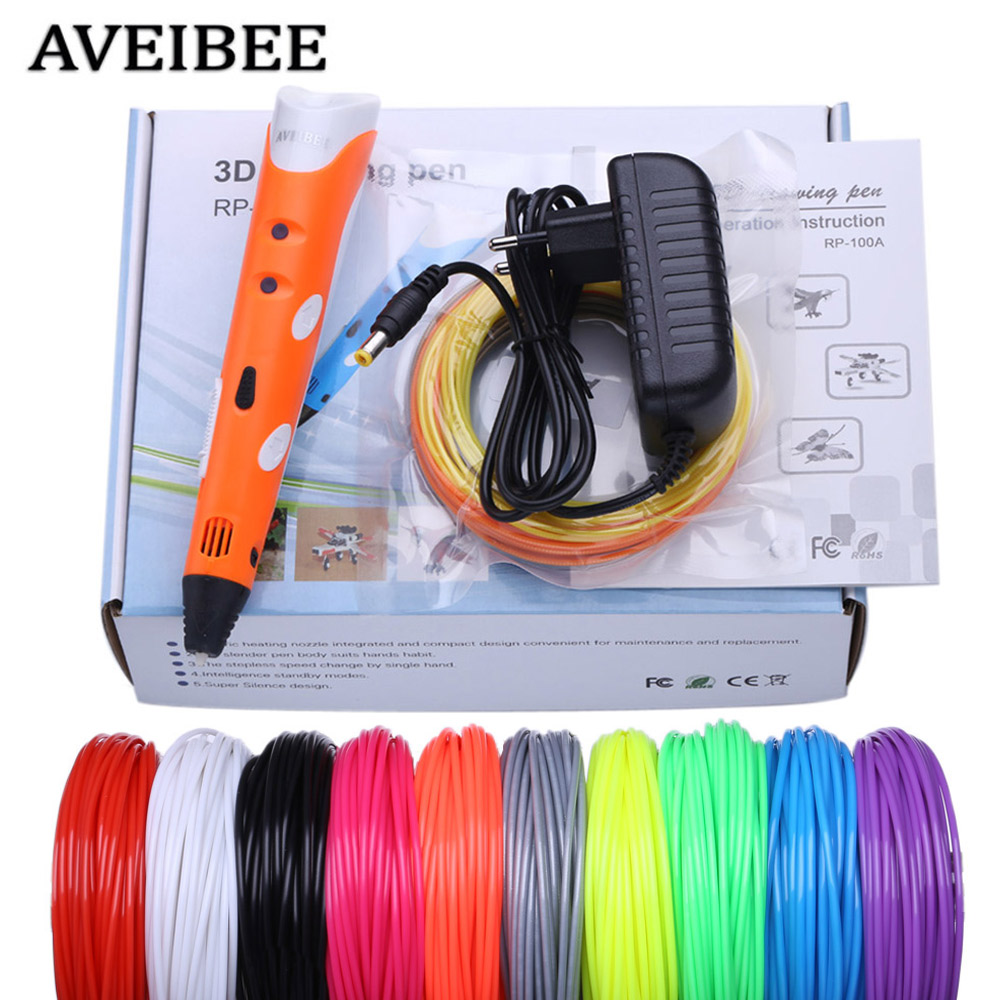 Aveibee ABS DIY Smart 3D Pen 3D Printing Pen Drawing Pens Printer With Free Filament Creative Gift For Kids Design Painting dewang factory 3d printer pen 3d printing pen kids drawing pen abs filament 100 200 meters 3d pen pencil send from russia