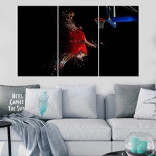 Abstract Thrower Basketball Artistic Sport Painting 3 Piece Modular Style Picture Canvas Print Type Decor Wall Artwork Poster цена