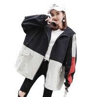 Women Coat Spring 2019 New Korean Version Bf Style Casual Harajuku Jacket Autumn Loose Hooded Wild Trend Ladies Outerwear Lj471