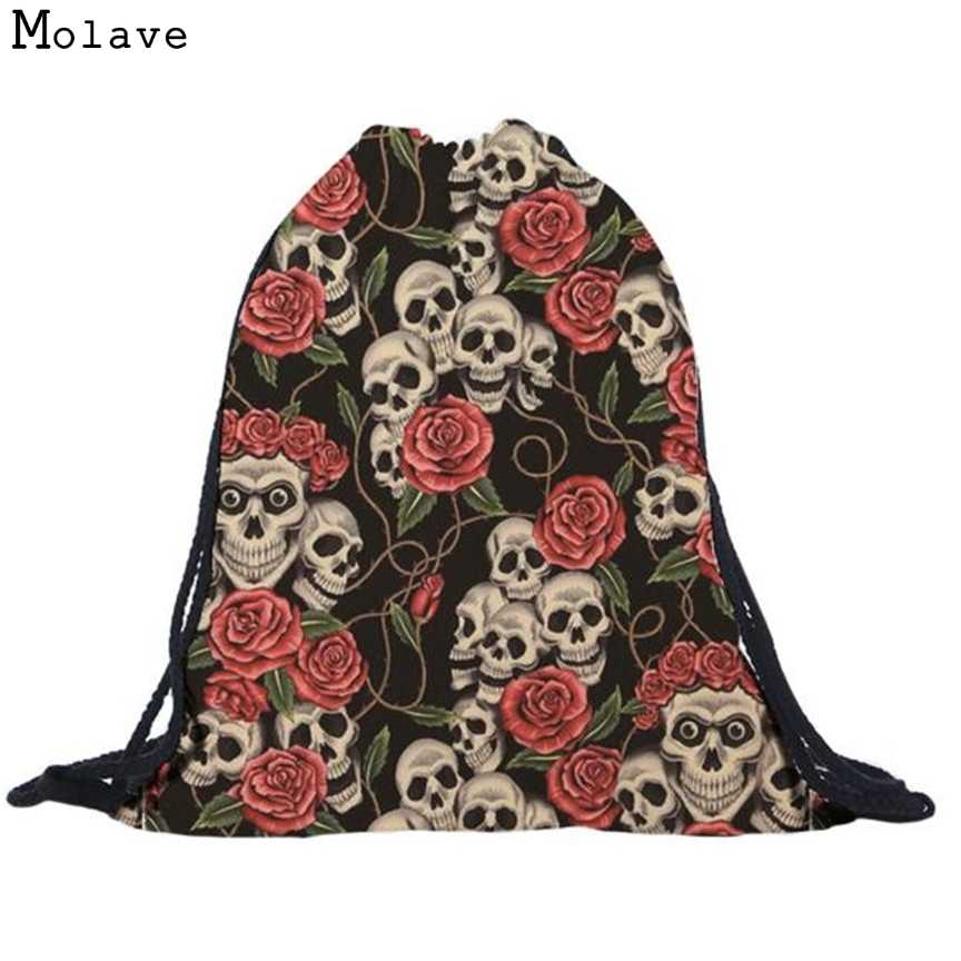 b6e0b4e883 Naivety New Fabric Bag Unisex Floral Skull 3D Printing Bags Cool Drawstring  Backpack Mochila S61223 drop