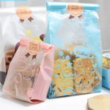 50pcs ChristmasThree-dimensional Cookie Bag Transparent Self-adhesive Plastic Dessert Baking  5ZDZ60